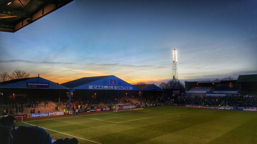 Dusk Sky Architecture Built Structure City Sunset Night Travel Destinations Illuminated No People Stadium Outdoors Football Soccer Pitch Carlisle Cumbria Carlisleunited Sunset_collection Photograpy Crowd Sunsetlover Sunsets