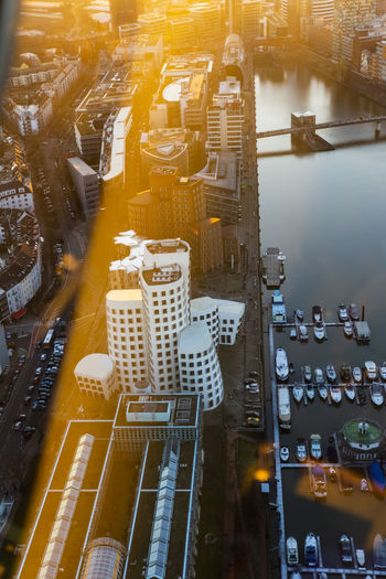 High angle view of  harbour area in düsseldorf, germany during sunset