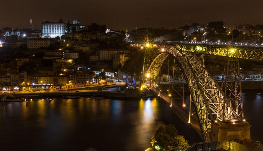 High angle view of illuminated dom luis i bridge at night