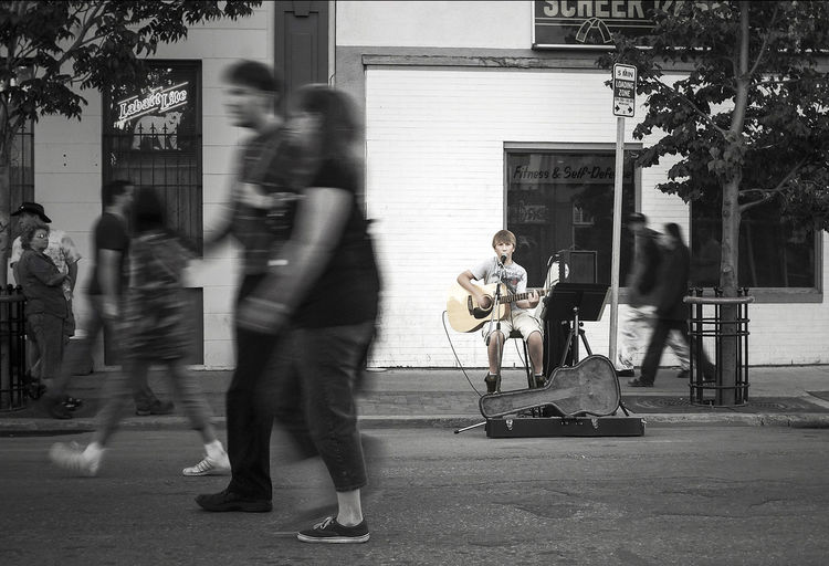 Blackandwhite Blurred Motion City Guitarist Musician People Street Streetperformer Streetphotography