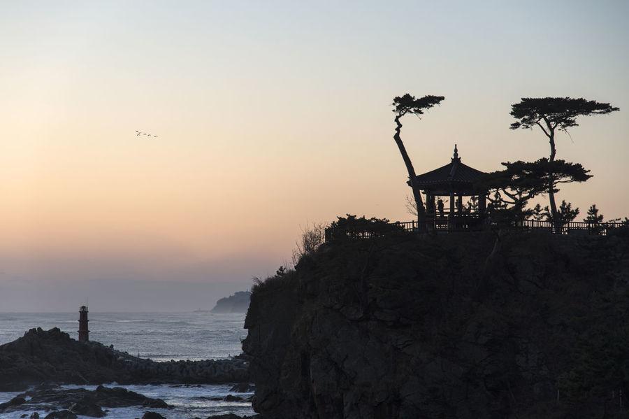 Sunrise of Naksansan, Yangyang, Gangwondo, South Korea Beach Bird Dawn Day Flying Morning Glow No People Outdoors Sea Sky Sunrise Sunset