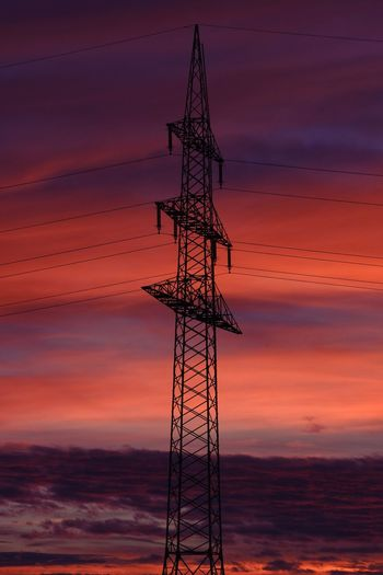 AndImissyou Sky Technology Electricity Pylon Dawn Steel Power Station Electrical Grid Power Line  Romantic Sky