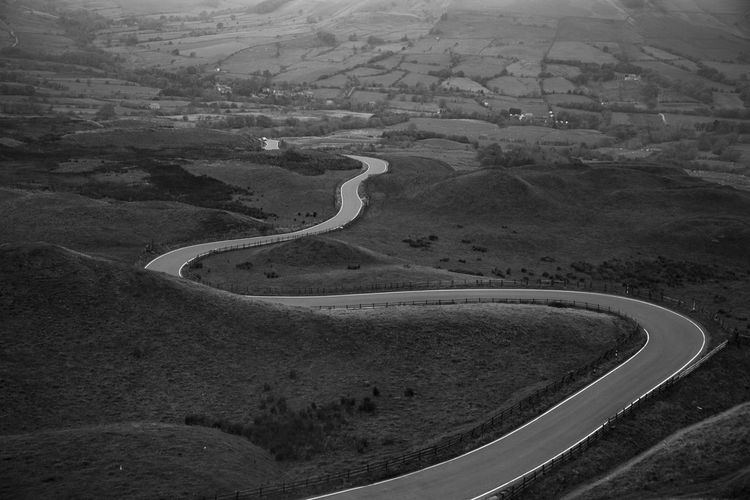 Beauty In Nature Curve Landscape Mountain Mountain Road Nature Outdoors Patchwork Landscape Peak District  Road Tranquil Scene Tranquility Winding Road Lost In The Landscape Second Acts Be. Ready. An Eye For Travel The Traveler - 2018 EyeEm Awards The Great Outdoors - 2018 EyeEm Awards My Best Travel Photo