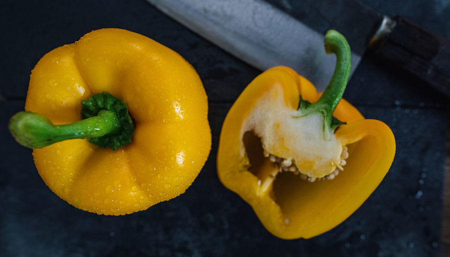 Close-up Food Freshness Healthy Eating High Angle View No People Spice Vegetable Yellow Yellow Bell Pepper