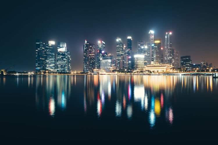 Skyline at Night Architecture Building Building Exterior Built Structure City Cityscape Financial District  Illuminated Landscape Modern Night Nightlife No People Office Office Building Exterior Outdoors Reflection Sky Skyscraper Tall - High Urban Skyline Water Waterfront