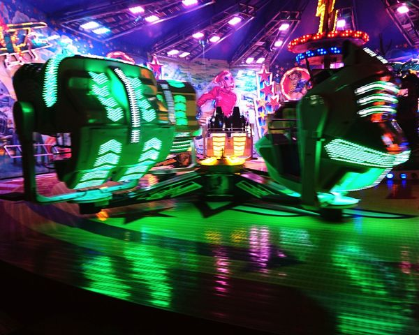Night Illuminated City Neon Multi Colored Rollercoaster Amusement Park Ride Amusement Park Fun Carousel No People