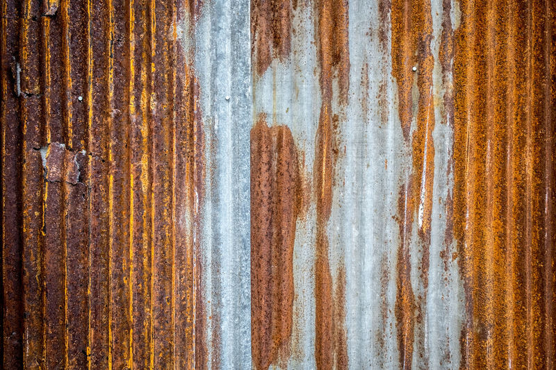 Full frame of rusted corrugated metal