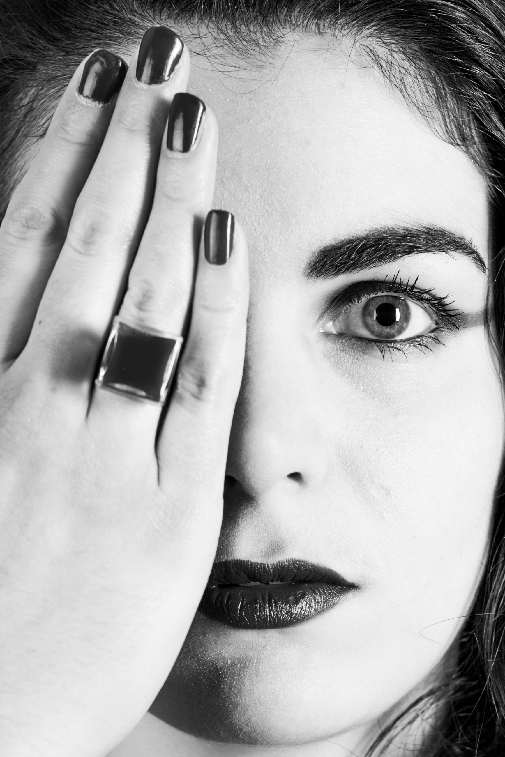 human body part, one person, portrait, body part, real people, headshot, human hand, close-up, young adult, hand, human face, lifestyles, young women, front view, women, leisure activity, indoors, looking at camera, adult, nail, beautiful woman, finger, contemplation