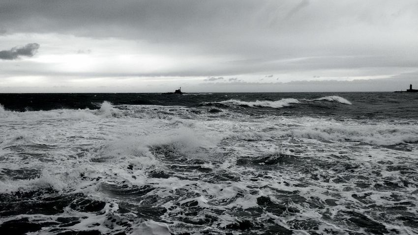 Life is like the sea. Sometimes it is quiet, sometimes hectic. Rough Sea B/w at Livorno, Italia/ Leghorn, Italy