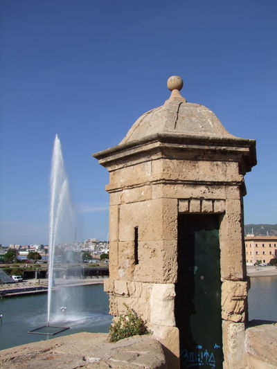 Fountain of Parc de la Mar & City Wall Lookout, Palma City Walls Composition Fountain Lookout Mallorca PILLBOX Palma Palma De Mallorca SPAIN Scenic Sunlight Tourist Attraction  Blue Sky Built Structure Capital City City History Modern And Old No People Outdoor Photography Parc Park Tourism Travel Destination Water