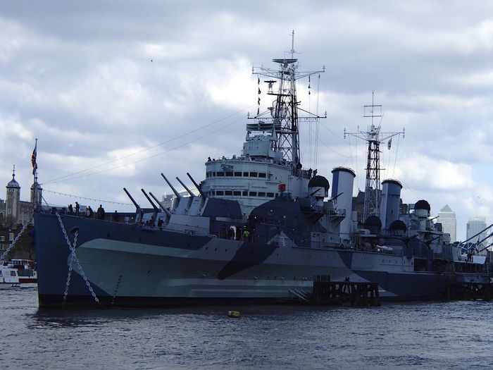 Warship in a river