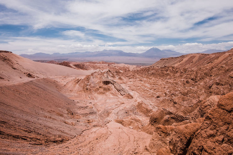 Scenic view of death valley in atacama desert in chile against cloudy sky