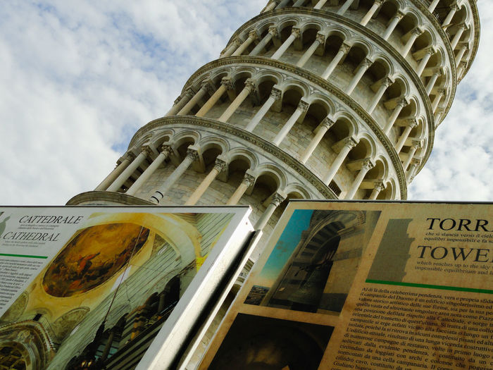 Pisa Tower Pisa Italy Italy 🇮🇹 History Low Angle View Travel Destinations No People Architecture Day Tuscany Tourist Destination Touristic Billboard And Building The Architect - 2017 EyeEm Awards BYOPaper! Your Ticket To Europe
