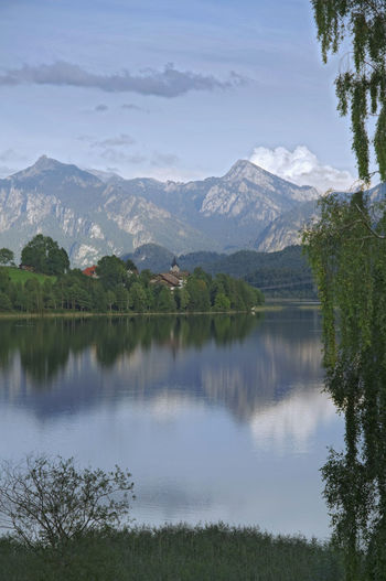 View over the bavarian lake weissensee in direction of the bavarian alps.