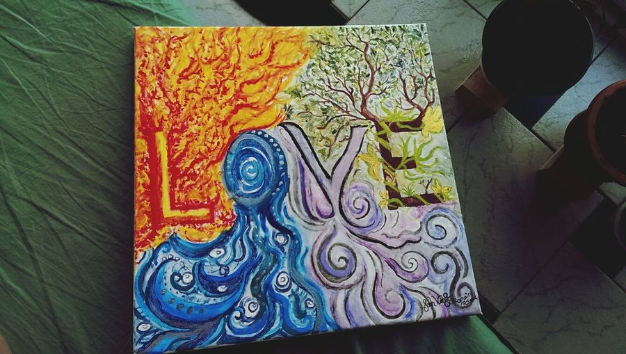"""""""The Elements"""" I painted a year ago for a friend as a birthday present. Painting Drawing Love Colors"""
