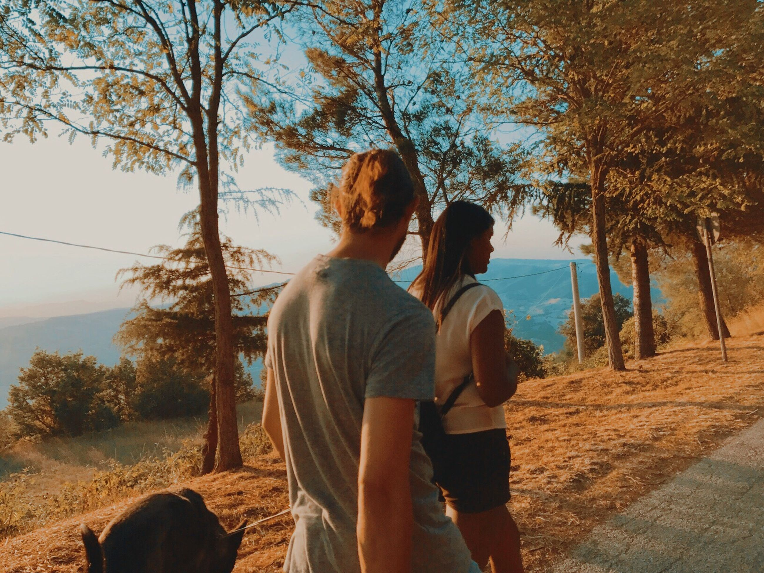 real people, two people, rear view, togetherness, tree, love, couple - relationship, leisure activity, nature, bonding, casual clothing, outdoors, lifestyles, day, standing, landscape, sky, men, scenics, women, beauty in nature, mammal, people