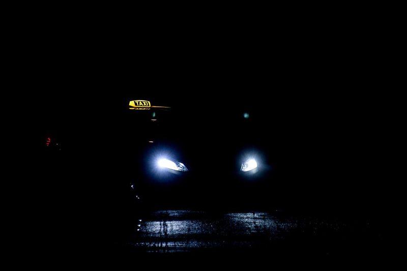 Night shift Cab Taxi Illuminated Night Dark Transportation Car No People Land Vehicle
