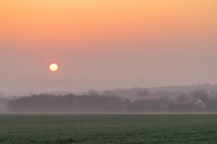 A beautiful spring morning with the cold fog clearing and the magnificent sun rising into the sky. Agriculture Beauty In Nature Day Dramatic Sky Fog Grass Landscape Moon Nature No People Outdoors Rural Scene Scenics Sky Tranquil Scene Tranquility Tree