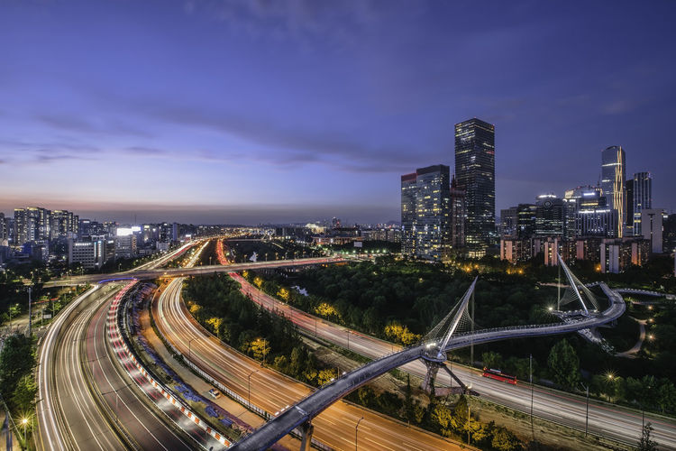 Singil District, Seoul, South Korea skyline at night. Architecture Bridge - Man Made Structure Building Building Exterior Built Structure City City Life Cityscape Cloud - Sky High Angle View Highway Illuminated Light Trail Modern Multiple Lane Highway Nature Night No People Office Building Exterior Road Sky Skyscraper Street Tall - High Transportation