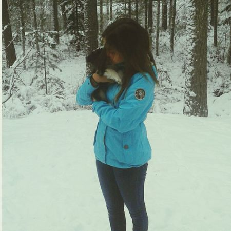 My Little Puppy So Cute Cold Winter ❄⛄ Snow ❄