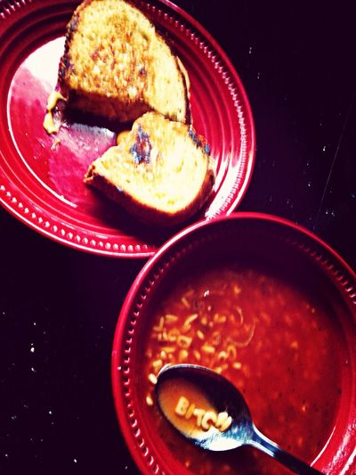 So I made some Alphabet Soup and Grilled Cheese sammich Foodporn