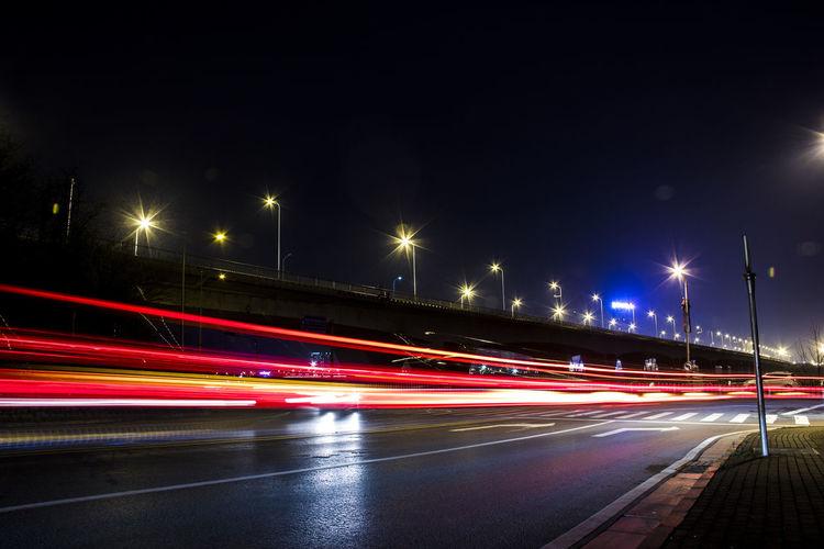 Night Illuminated Light Trail Long Exposure Traffic Motion Street Light Transportation Highway Car City Street Vehicle Light Road