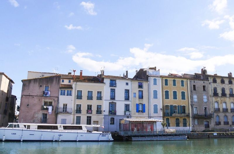 Channel Houses Houses And Windows Boats Boats And Water Building Exterior Architecture Built Structure Sky Waterfront City Water Day Outdoors Residential Building No People Nautical Vessel Agde Occitanie France