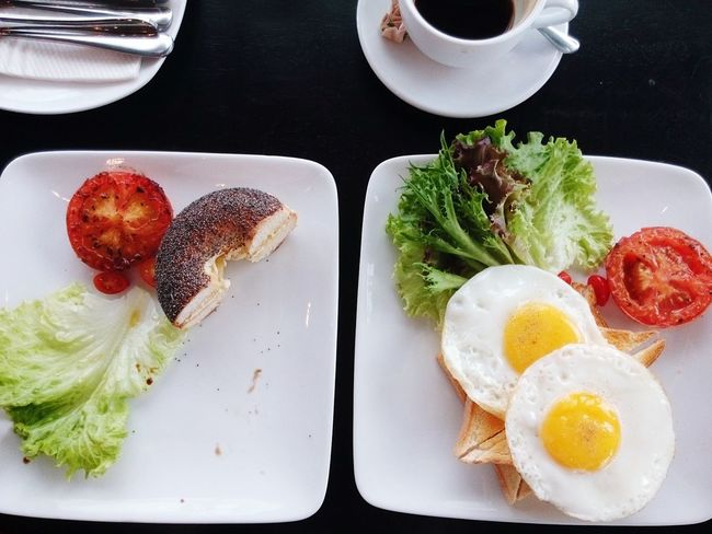 Breakfast 1. Cafe Americano 1. Yummy Bagel  2. Chunky Toast 2. Sunnysideup and 1. Fullbelly at the Paul Louis Cafe-penang-malaysia