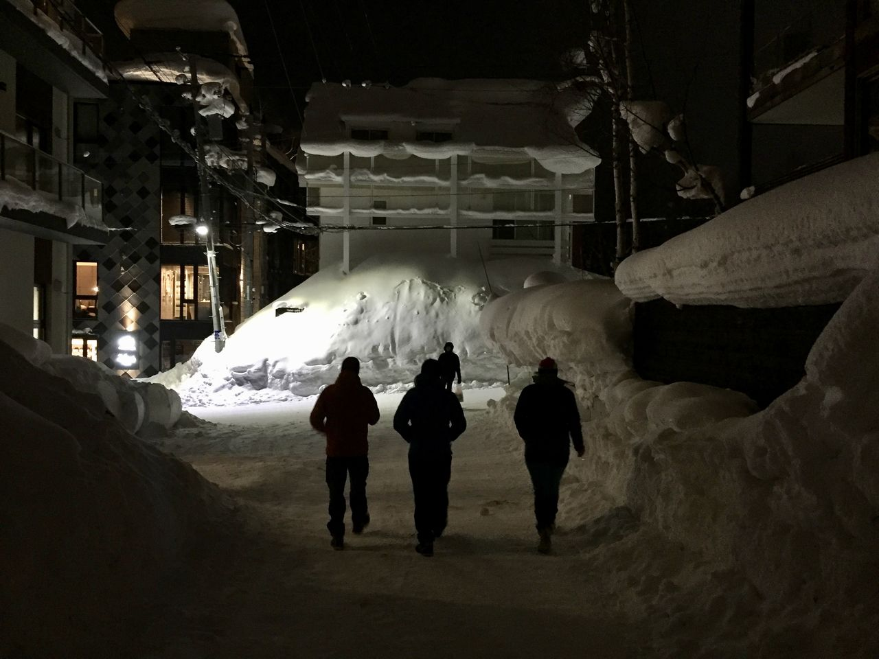 group of people, real people, night, built structure, winter, architecture, building exterior, lifestyles, rear view, men, snow, cold temperature, people, leisure activity, city, walking, group, women, warm clothing