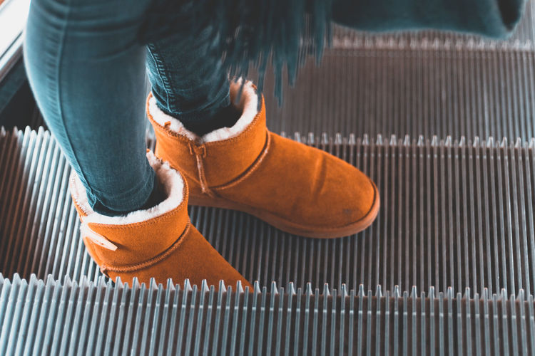 Boots Close-up Day Fashion Girl High Angle View Human Leg Indoors  Lifestyles Low Section One Person Orange Color People Real People Shoe Standing Women