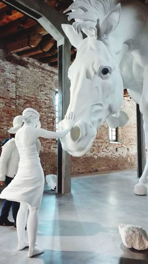 Statue Sculpture Human Representation Indoors  Art And Craft Museum Standing Day Horse Venice Biennale