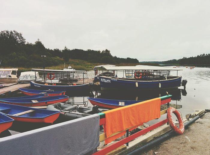 Boat Boats Berth Lake River Summer Orange Island Grey Sky Nature Freshness Green Russia Karelia Life Weekend Love It