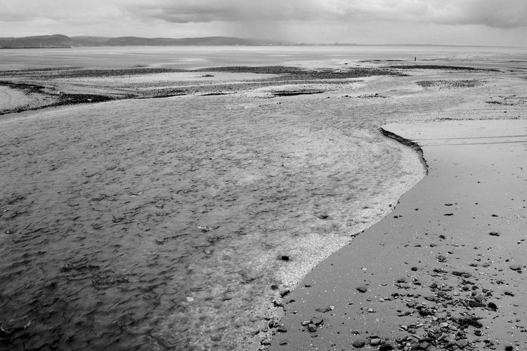 Crossing The Bay Solitary Beach Beauty In Nature Blackandwhite Cloud - Sky Outdoors Remote Sand Sea Sky Tranquil Scene Tranquility Water