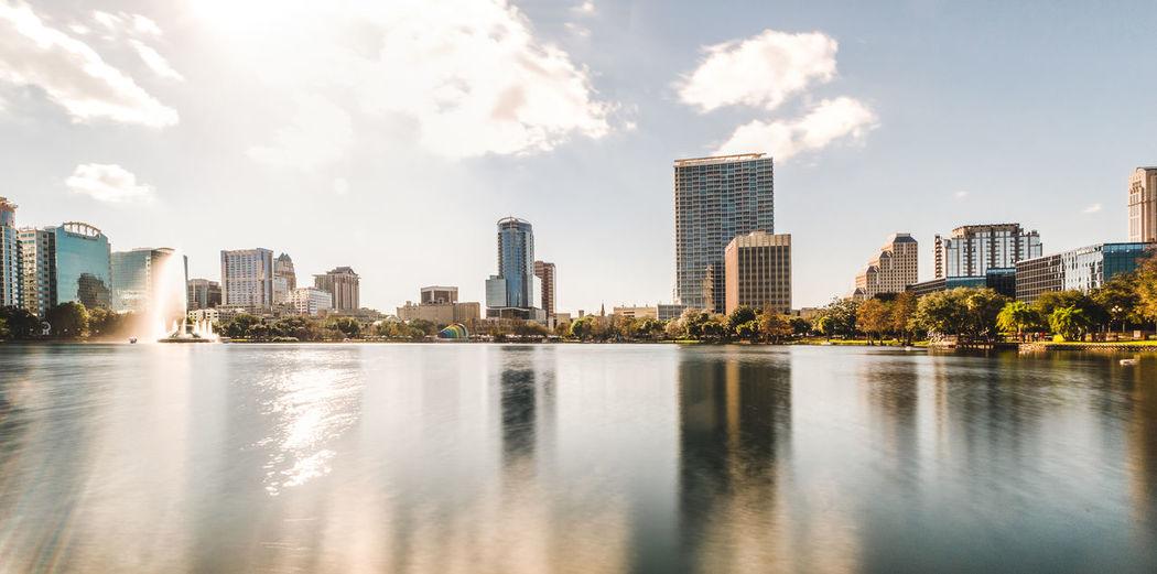 Lake Against Sky In City