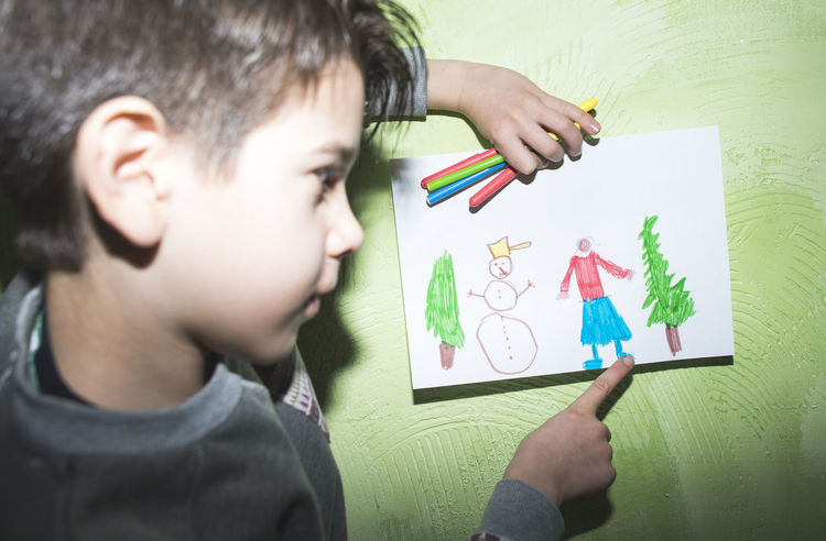 Boy Child Paint Painting Show Shows Winter Wall Home Direct Light Flash Flash Light Shadow Real People Childhood Males  Boys Men Drawing - Activity One Person Holding Lifestyles Creativity Activity Headshot Art And Craft Drawing - Art Product Education Paper Portrait Innocence
