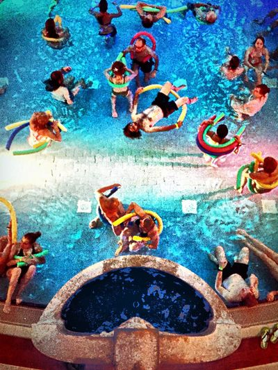 A Bird's Eye View water, Bath, floating Music, Merkelsches Volksbad, man, Woman, Color, Basin, Swimming Multi Colored Blue Colorful