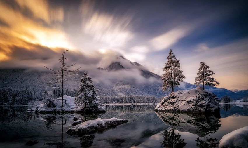 #langzeitbelichtung #sony #a7ii #hintersee #bavaria Cloud - Sky Sky Beauty In Nature Nature Tree Scenics - Nature Plant Mountain Snow Cold Temperature Winter Water Outdoors First Eyeem Photo
