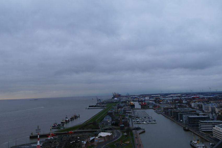 Take a beautiful seascape picture from the top - Bremerhaven,Germany Afternoon Cloud Harbor New Year Winter Architecture Background Backgrounds Bremerhaven Bremerhaven Port Built Structure Day Landscape Night Outdoors Overlook Overlooking Port Sea Sea And Sky Seascape Ship Sky Vacation Water