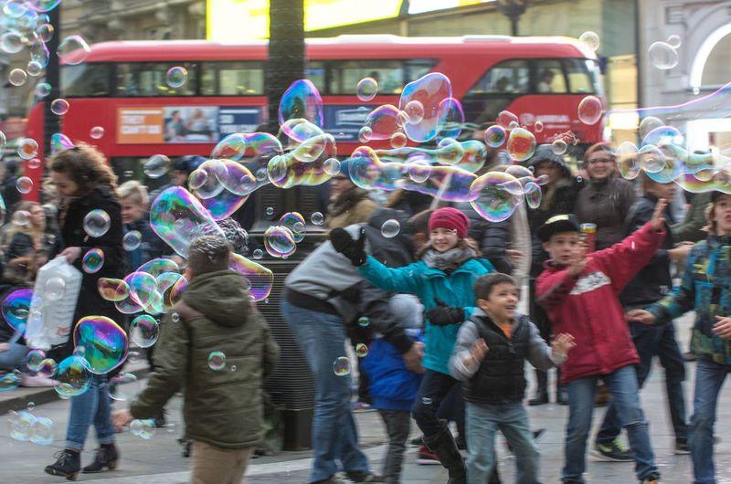 Full frame shot of bubbles in city
