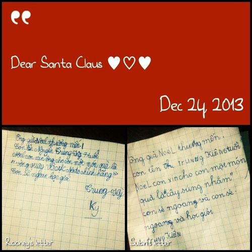 How cute my nephews wrote letters for Santa Claus to ask for Xmas presents kkkkkkk They also put letters in socks then took it beside their beds before sleeping! Now while they r sleeping, my sister have taken letters alr! She must buy those-exact-required-presents tmr for the kids ♥ awwwww I was same as the kids when I was young, my mom also told me that Santa was real and I totally believed it and waited for his xmas presents every year while those presents were from my parents surely kkkkkk Kidmemories Xmas Sweet