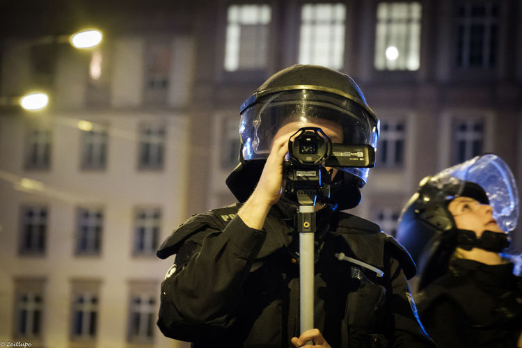 21.09.17 Camera Leipzig Architecture Demonstration Filmed Focus On Foreground Headwear Helmet Night Police Police Uniform Protection Protective Workwear Real People Uniform überwachungsstaat