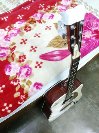 Musical Instrument Music Brings Us Together Lovemusic A Bird's Eye View Illuminated Close-up Intresting Nice Pink Color Indoors  Guitar Freshness New