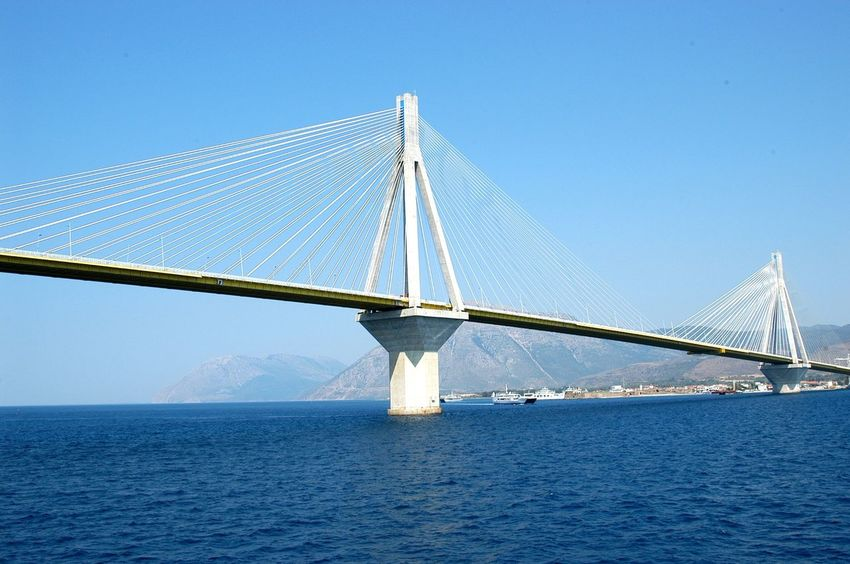 Bridge Construction Engineering Outdoors Rio-antirio Bridge Sailboat Sea Suspension Bridge