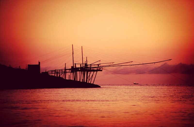 Trabucco Gargano Fishing Net Sunset