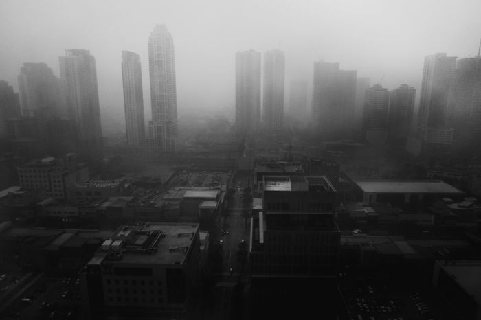 Architecture BGC, Taguig Building Exterior City Cityscape Day Fog Mist Modern Nature No People Outdoors Rain Rainy Days Skyscraper Taguig The Fort Bonifac Urban Skyline Black And White Friday
