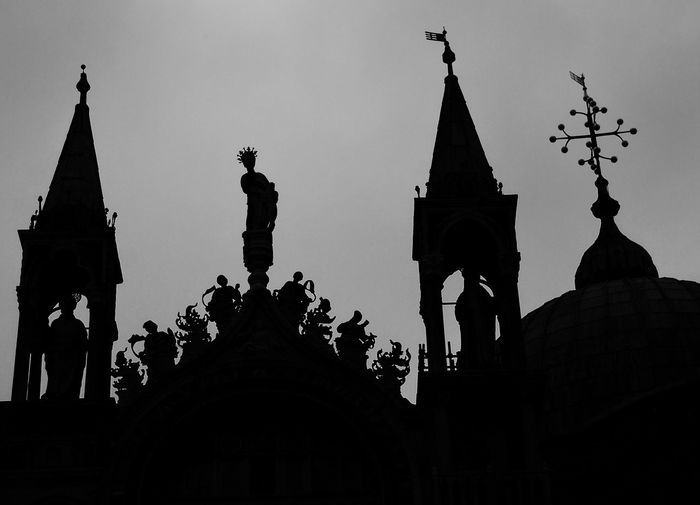 Silhouetted spires at dusk