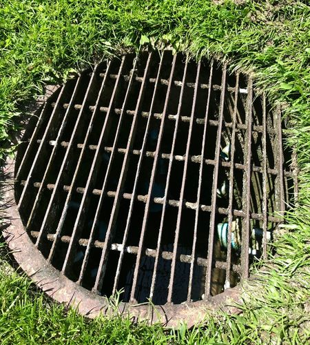Steel Grating Drain Hose Plant No People Nature Day Metal Grate Grid Grate Manhole