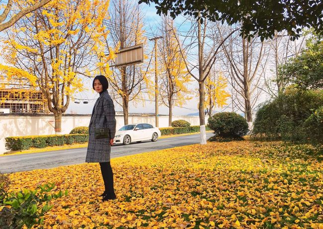 Autumn One Person Transportation Full Length Young Adult Outdoors Yellow
