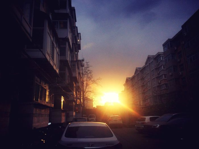 I'm coming home. Sunset Sky Outdoors Cityscape Land Vehicle No People Street