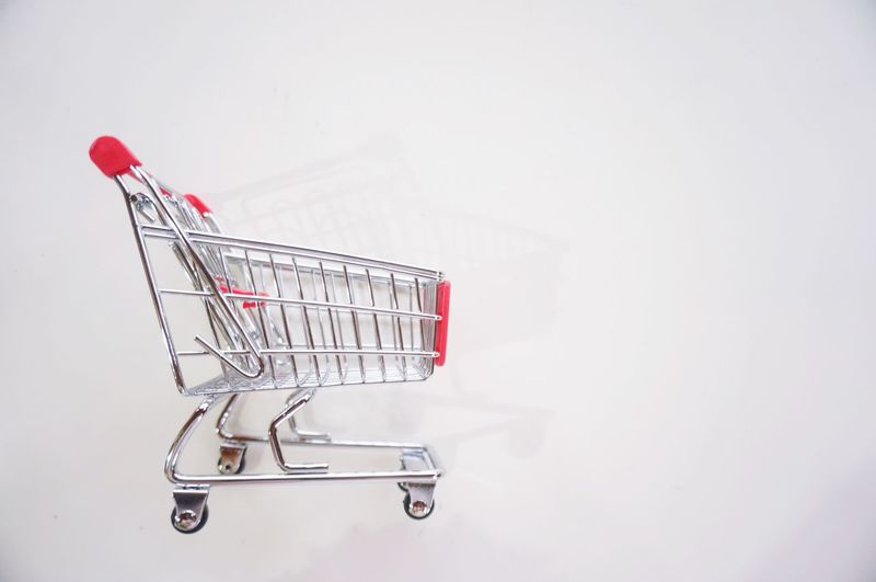Shopping Cart Shopping Copy Space Consumerism Trolley Supermarket Wall - Building Feature Store Red Empty Studio Shot White Background Push Cart Cart